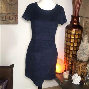 Aqua suede fully lined mini dress.